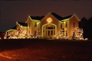 Stunning holiday outdoor tree lighting and roofline holiday lighting  with C9 LEd outdoor Christmas lights