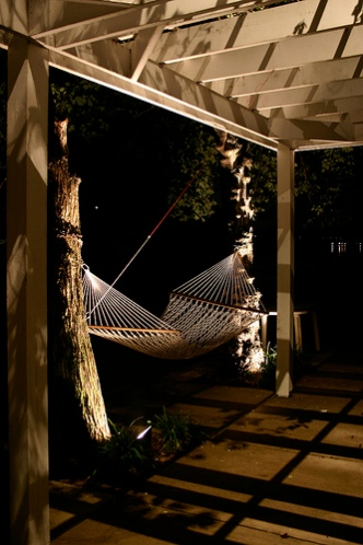 Backyard pergola lighting