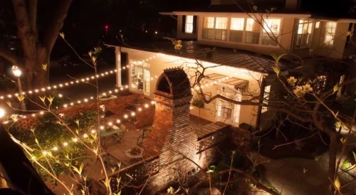 Festival lighting was used in this patio courtyard for added ambiance.