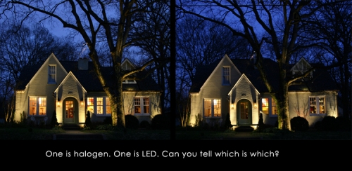 led or halogen with caption